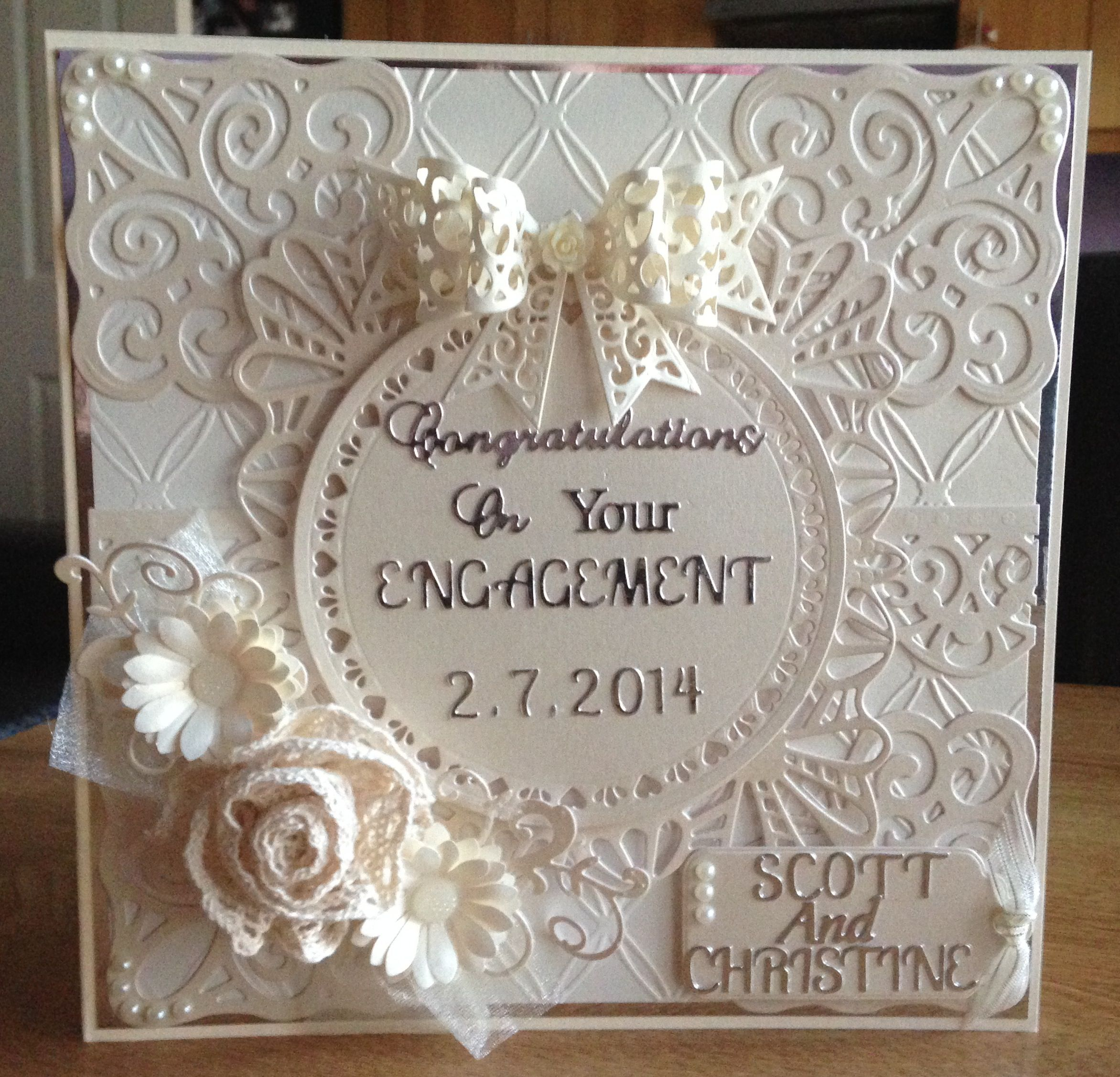 Scrapbook ideas engagement - Handmade Engagement Card Made Using Sue Wilsons Spanish Collection Dies