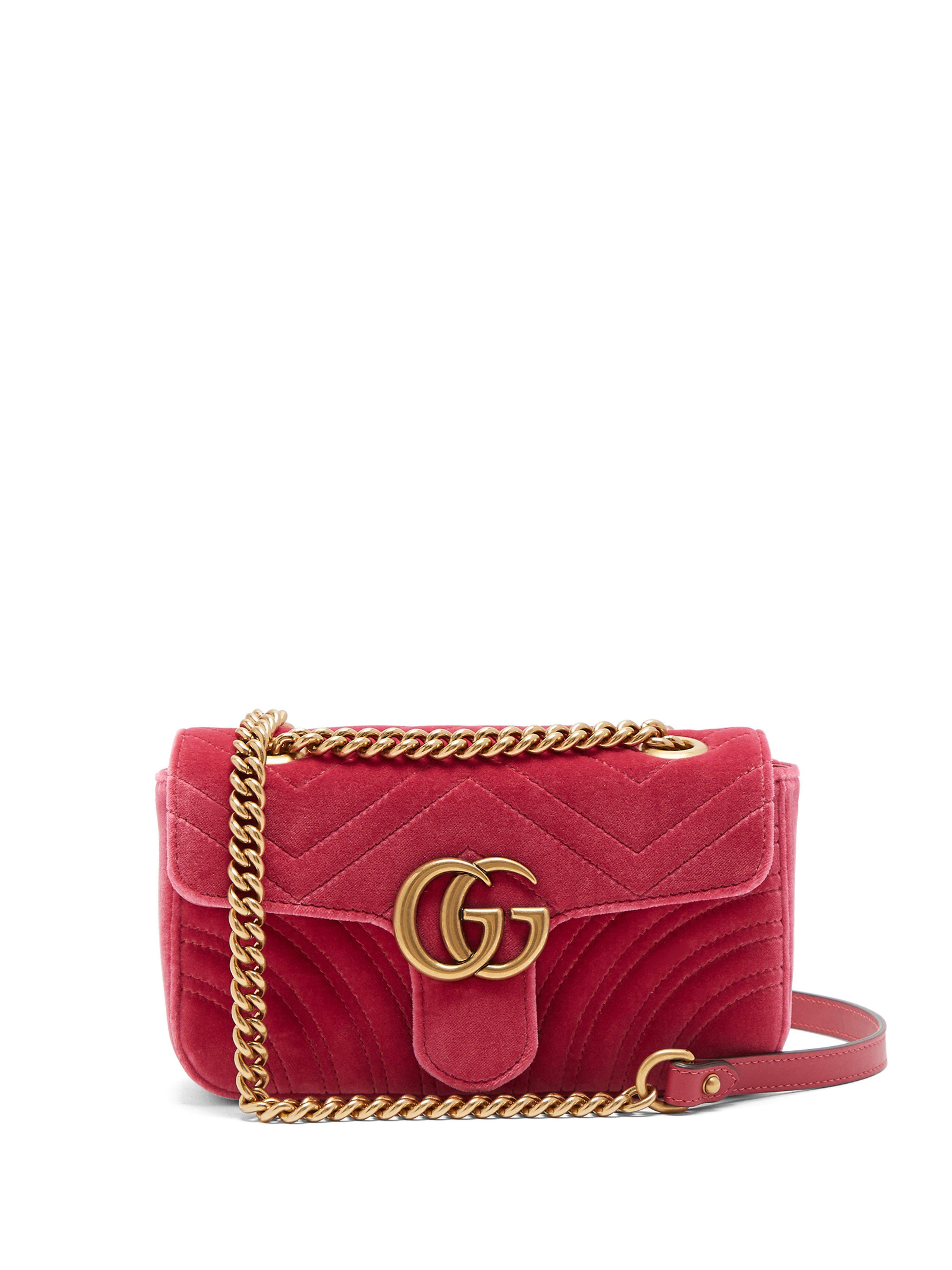 4f8036c9 Women's Pink GG Marmont Velvet Shoulder Bag in 2019 | shoulder bags ...