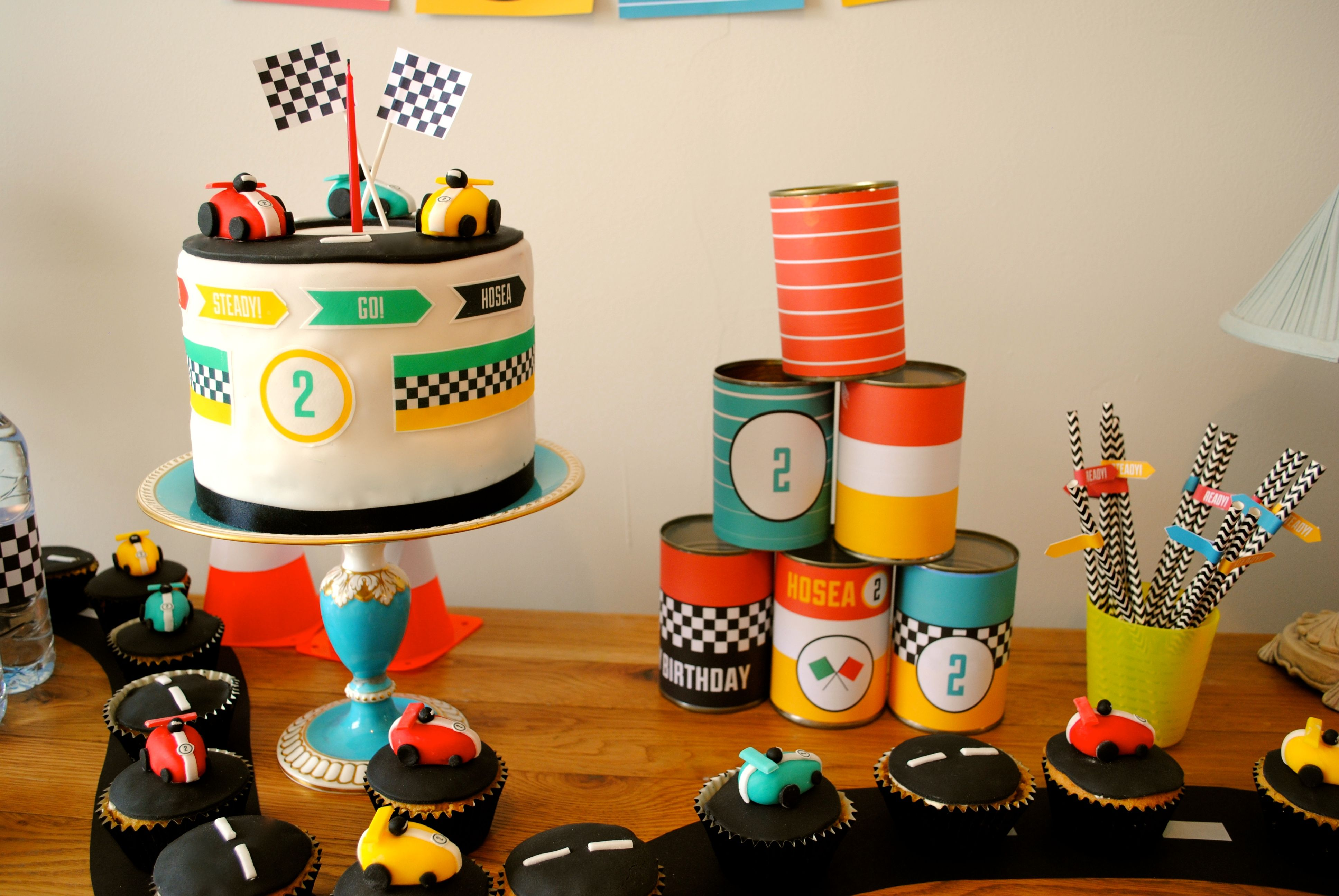 Racing Car Theme Cake Toppers Boys 2nd Birthday