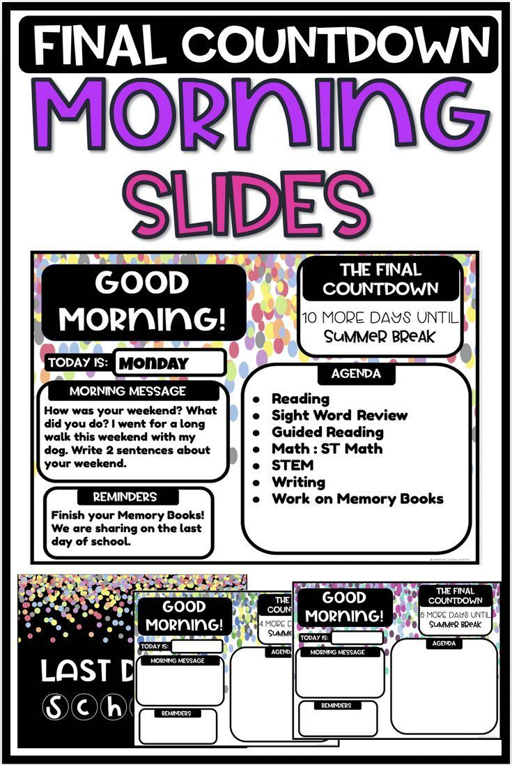 Morning Slides Final Countdown Confetti Theme in 2020
