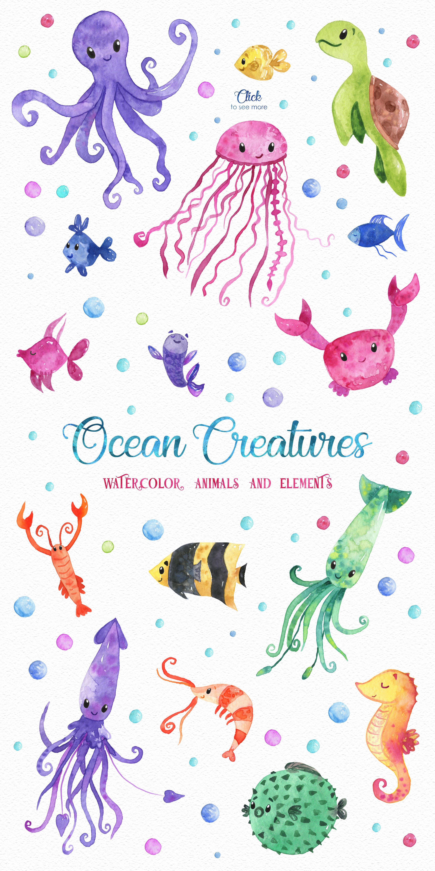 Ocean Friends Watercolor Clipart Watercolor Ocean Ocean