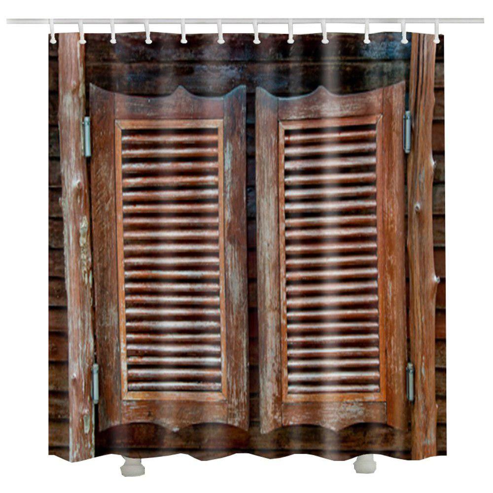 Rideau Douche Vintage Wood Door A Shower Curtain Douche Gordijn Gift