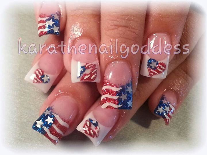 Patriotic Nails Acrylic Fourth Of July Patriotic Nails Firework Nails Fourth Of July Nails