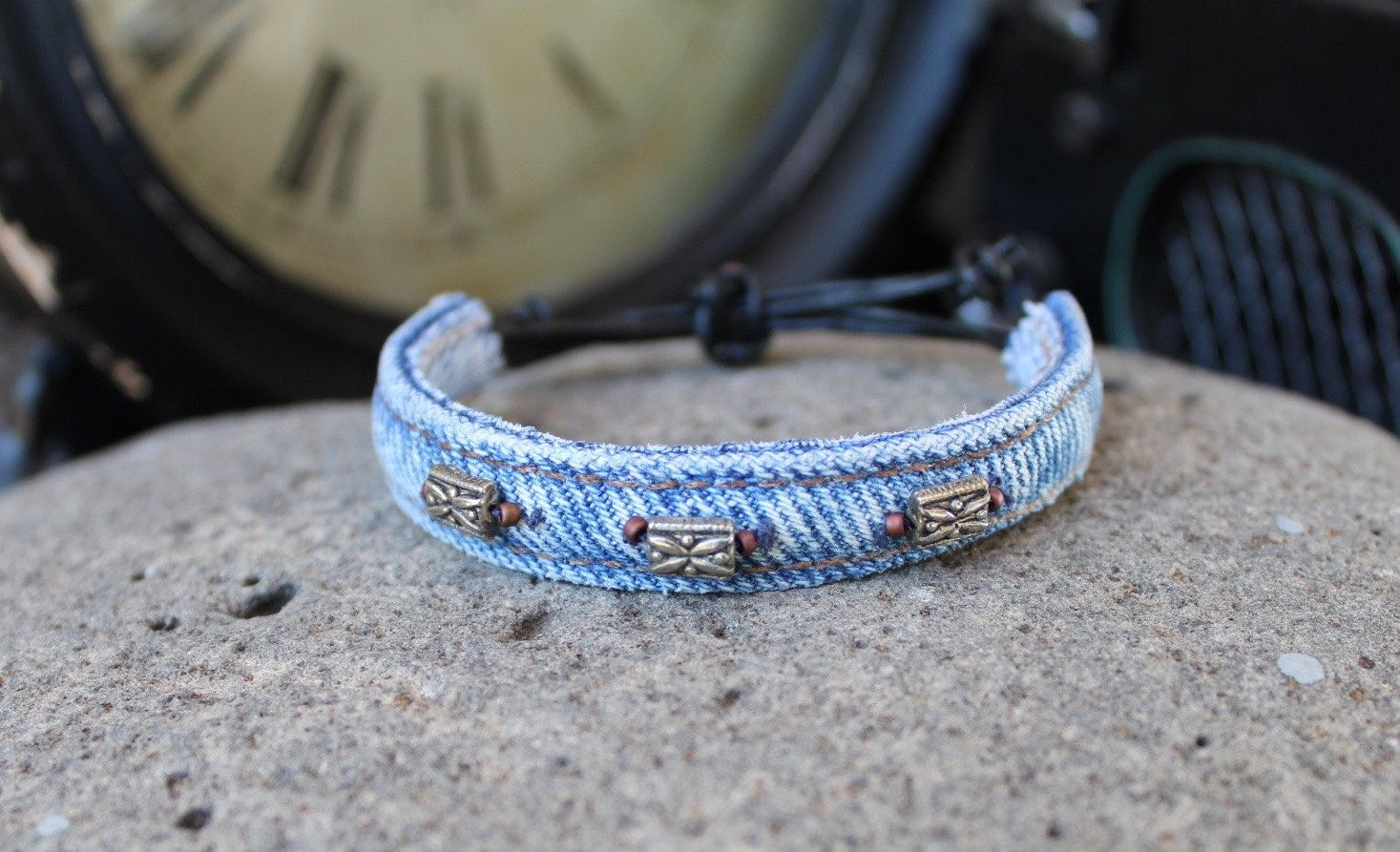 Denim Beaded Bracelet with Three Silver Beads Each Surround by Two Side Beads with a Black Leather Pull Closure - 466575421 by AllintheJeans on Etsy