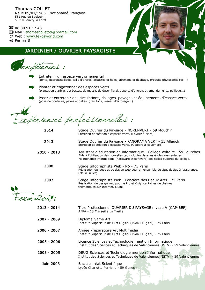 Cv Collet Thomas Jpeg Jpg 848 1200 Exemple Cv Paysagiste Telecharger Modele Cv