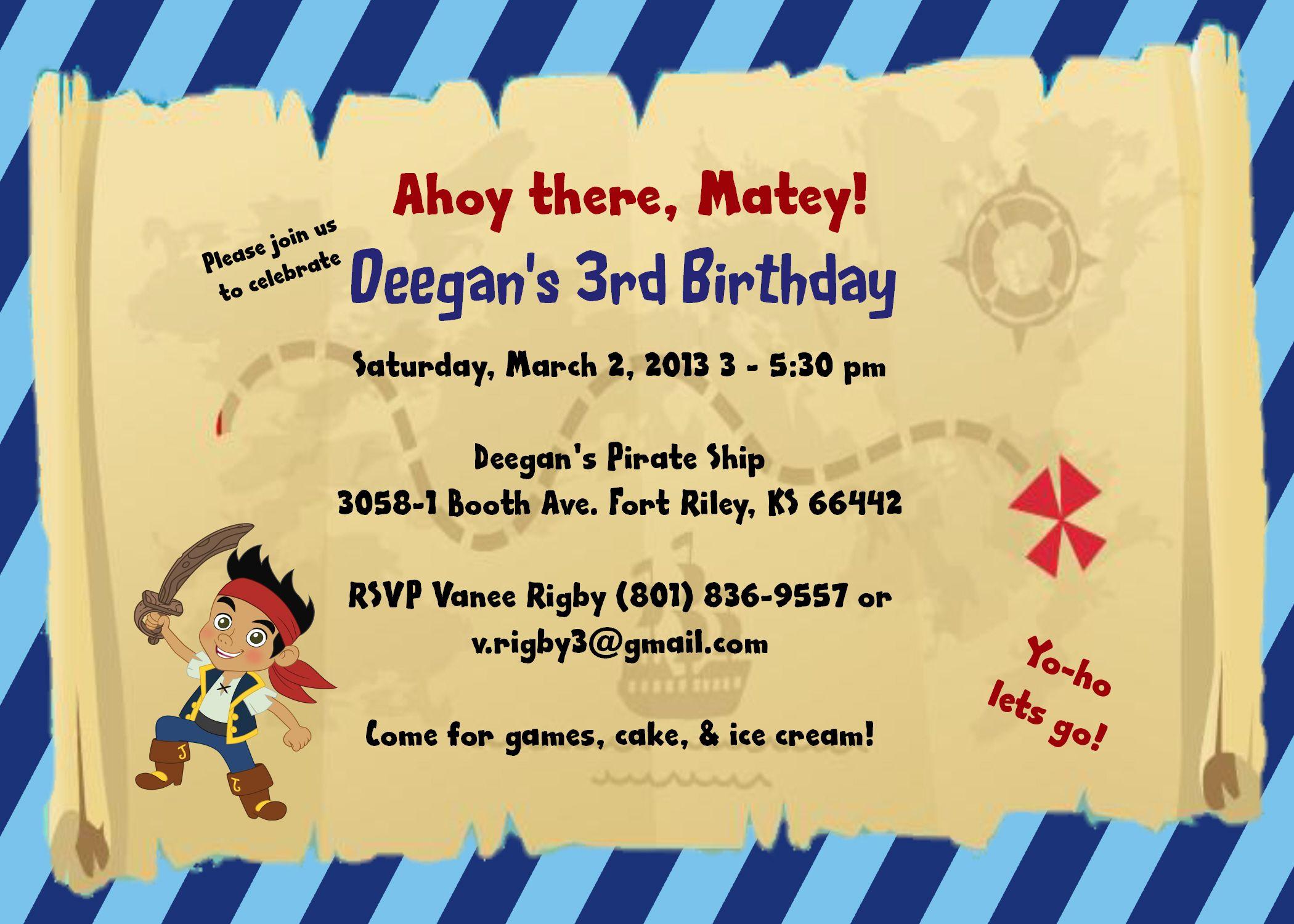 Disney\'s Jake & the Neverland Pirates Birthday invite | Birthday ...