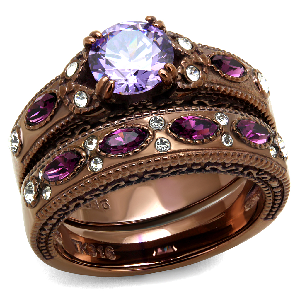 Light Coffee Plated Round Amethyst CZ Cocktail Ring Set