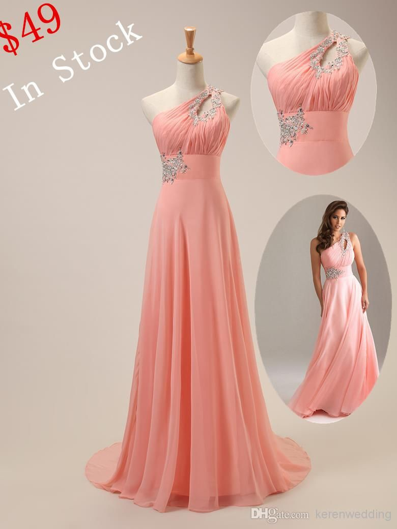 One Shoulder Long Chiffon Prom Dresses 2015 Hot Sale Crystals Beaded ...