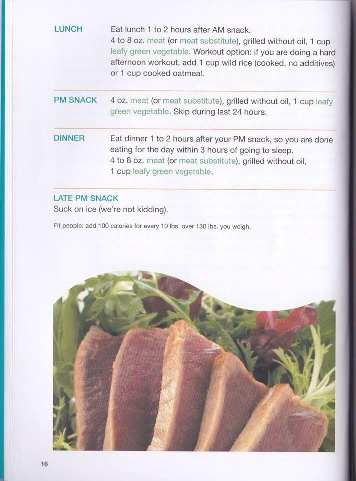 Slim In 6 Meal Plan 3 Option 2 Cont Slim In 6 Slim In