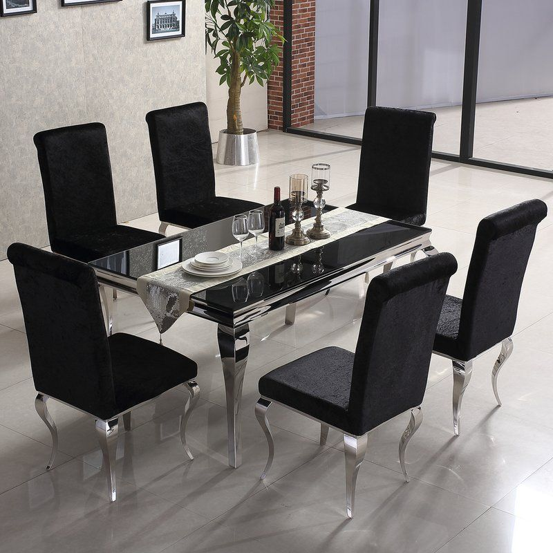 Julia Dining Set With 6 Chairs Black Glass Dining Table Black Living Room Decor Glass Dining Room Furniture