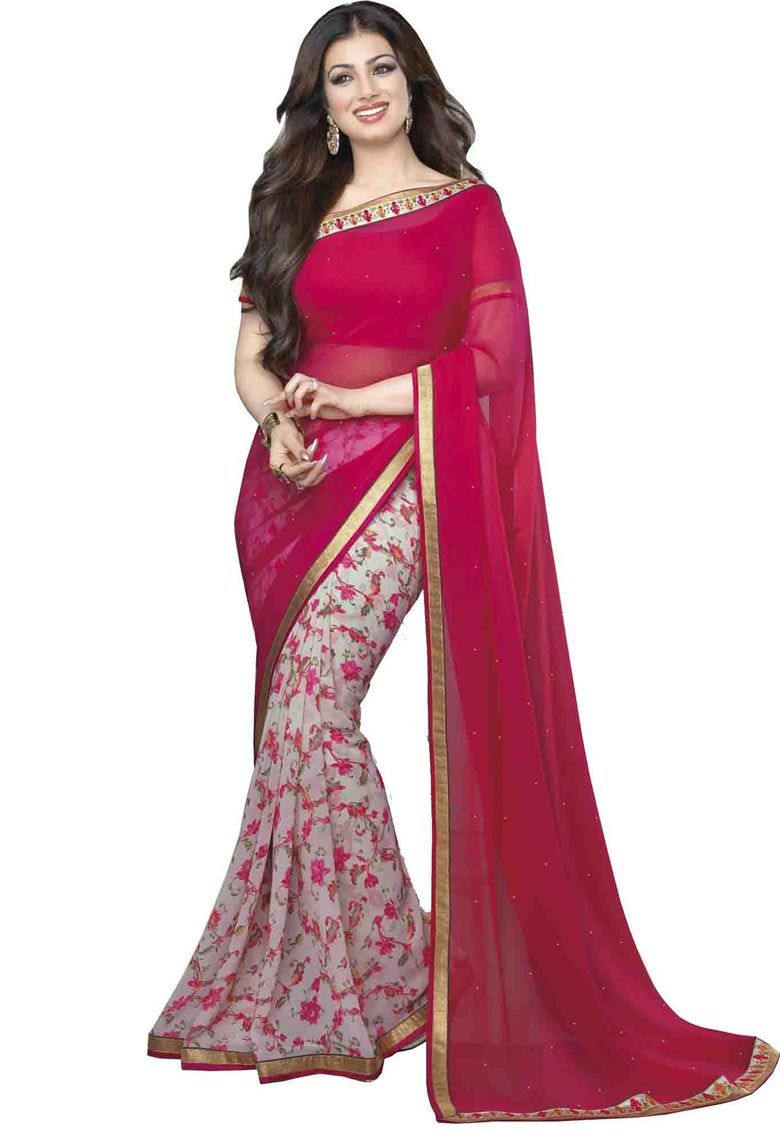 #Pink #Weightless #Saree With #Blouse....  Pink Weightless Saree designed with Printed work. As shown Pink Dhupian Blouse fabric is available....  INR:748.00  With Exclusive Discounts  Grab:http://tinyurl.com/z4h45wb