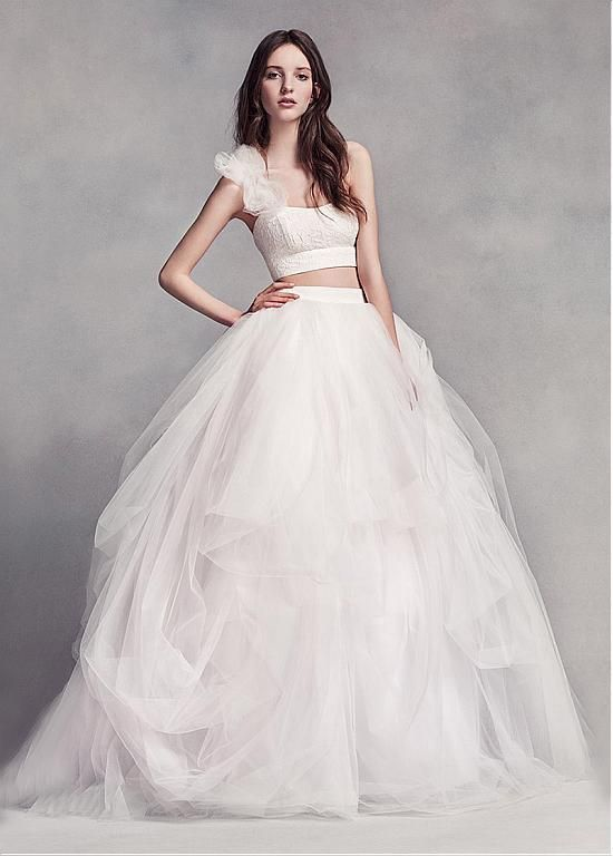 Magbridal Unique Tulle Lace One Shoulder Two Piece Ball Gown