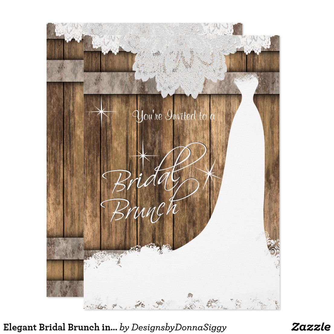 Elegant Bridal Brunch in Rustic Wood and Lace Invitation