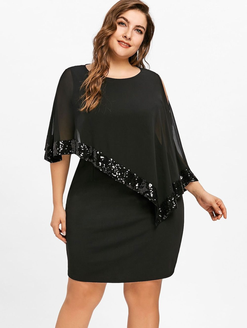42eb1631da Sequins Plus Size Capelet Overlay Dress - BLACK 5XL | Something ...