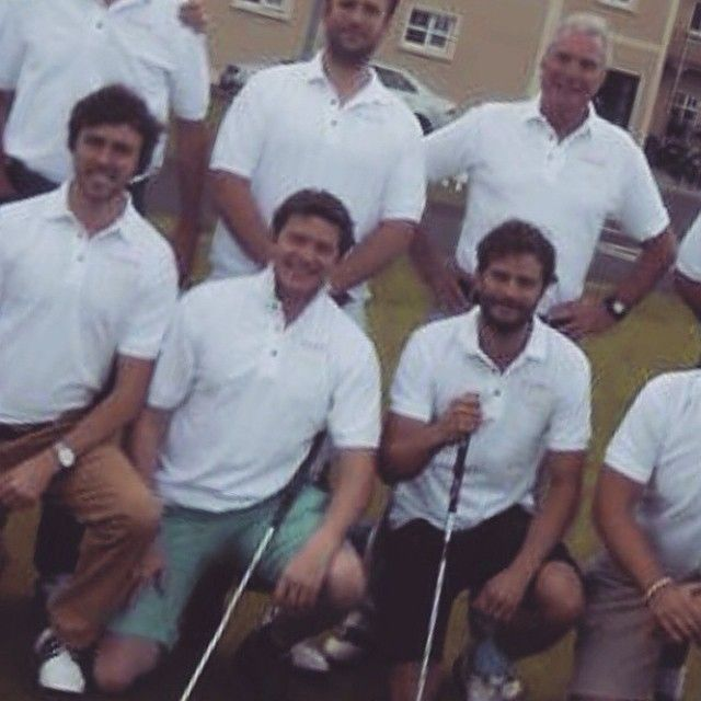 Another father/son golfing photo - sweet! #JamieDornan