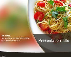 Plantilla de Espaguetis para Power Point es un diseño de Power Point para alimentación y bebidas que puede ser utilizado como fondos para diapositivas de comidas así como también de presentaciones relacionadas con ensaladas y Power Point de alimentos varios