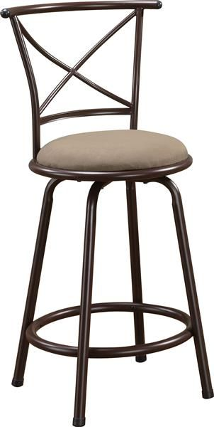 2 Casual Brown Metal Fabric Cross Back 24 Inch Bar Stools Coaster
