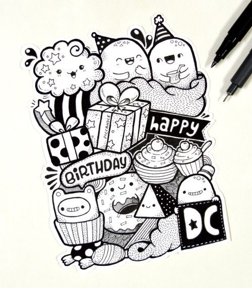 Ket Qua Hinh Anh Cho Cute Happy Birthday Doodle