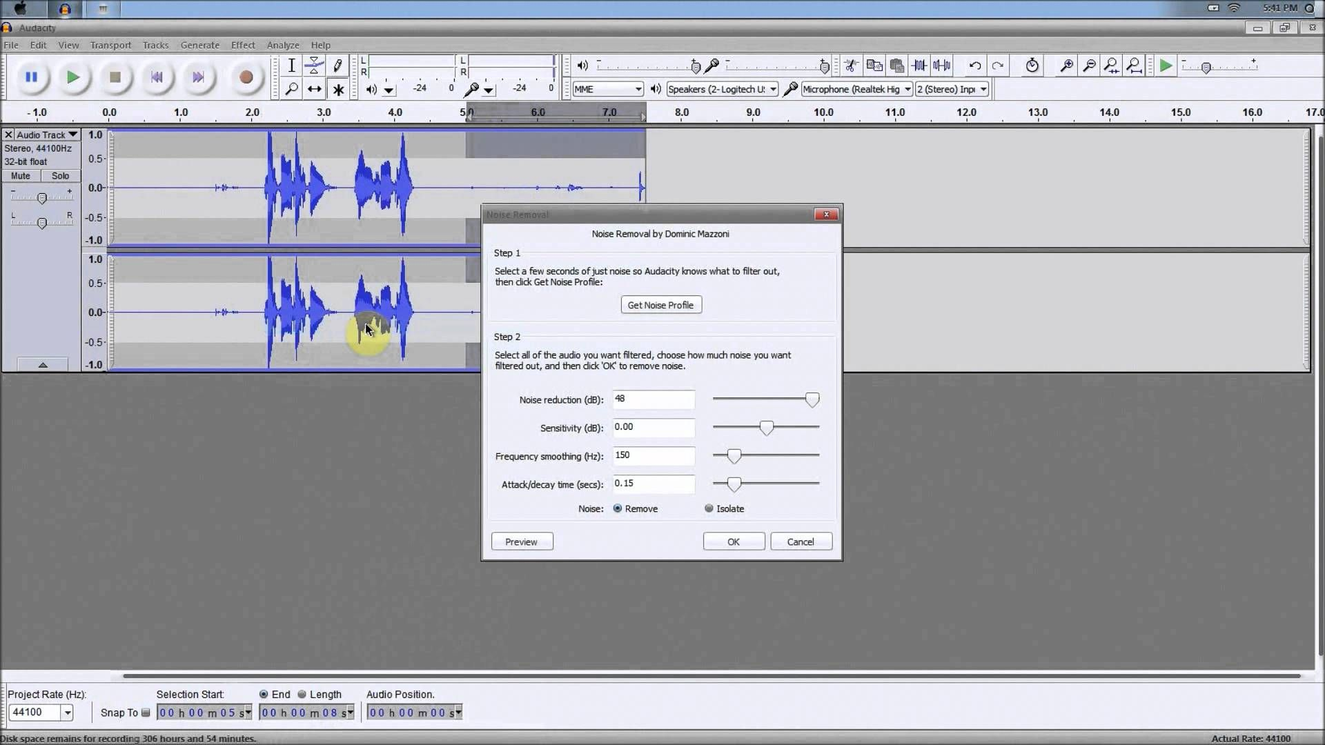 Remove background noise using Audacity - A quick and easy