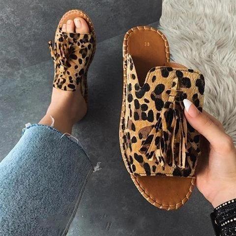 Leopard Print Tassel Mules Sandals 9