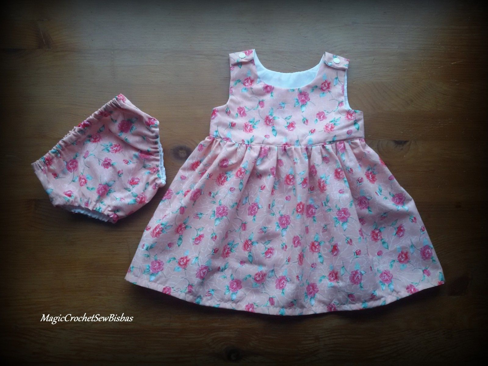 Baby Girl dress summer baby dress baby dress with pants handmade 3