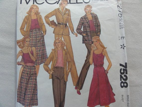 1981 Culottes, Pants, Jacket and Camisole- UNCUT Vintage McCall's Sewing Pattern 7528- Size 16 Bust 38 Waist 30