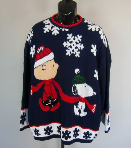 vtg peanuts snoopy charlie brown ugly christmas sweater mens m l xl womens 2x