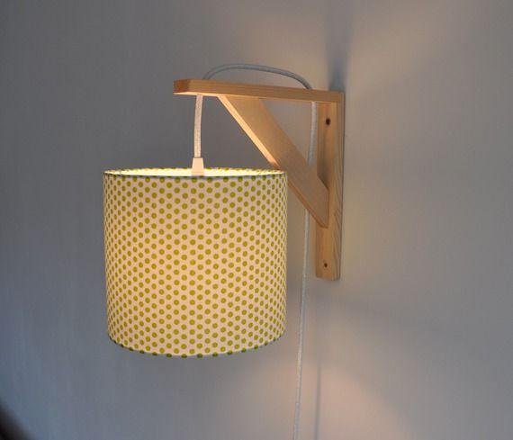 Lampe équerre applique murale abat jour  pois vert citron fil