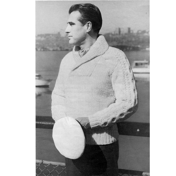 Mans Bulky Pullover Knitting Pattern With Shawl Collar Knit