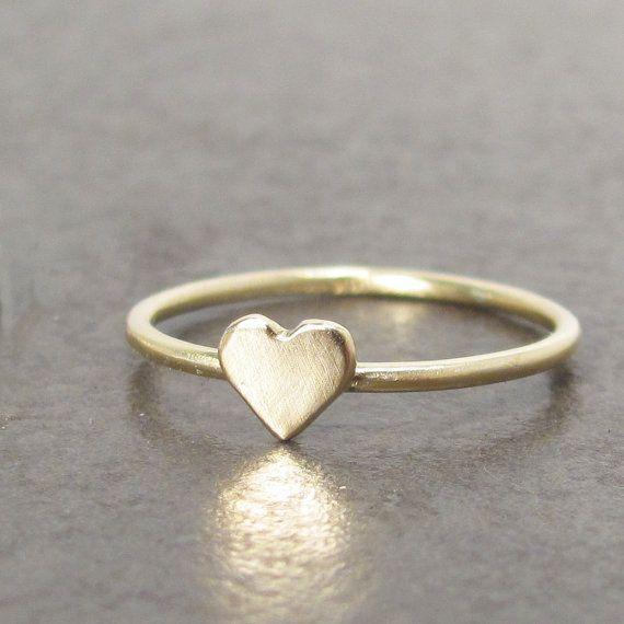 Gold+Heart+Ring+Textured+18k+SKINNY+MINI+Ring+by+LilianGinebra,+$209.00
