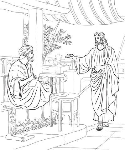 Jesus Calls Matthew Coloring page | Christian Book Coloring ...