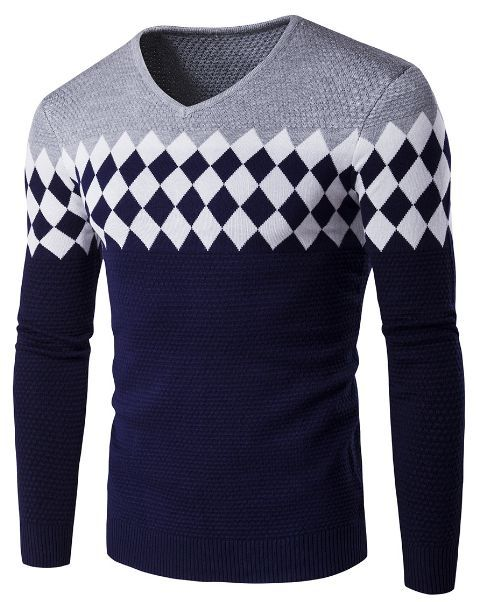 ARTFFEL Mens Loose Thicken Casual Contrast Stripe Turtle Neck Pullover Sweater Jumper