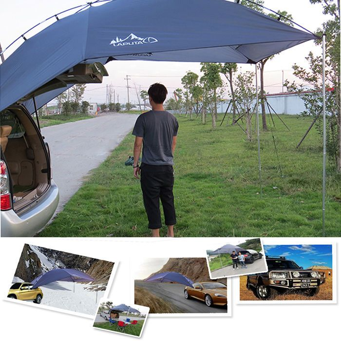 Back Car Tent Awning Roof Top 2 In 1 Camping Travel Rack Camper Trailer 4WD