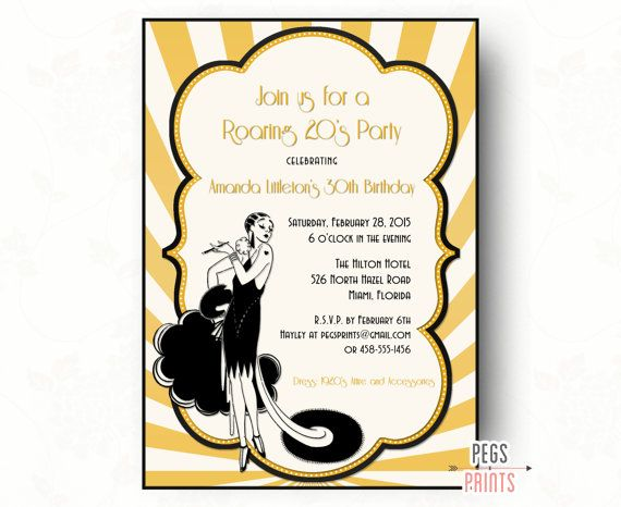roaring 20s invitation printable great gatsby birthday invitation