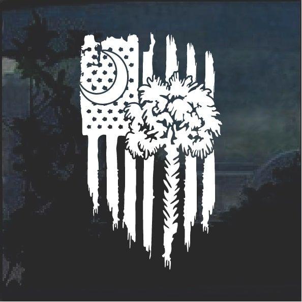 Sc Flag Tattoos: South Carolina Palmetto Weathered Flag Decal Sticker