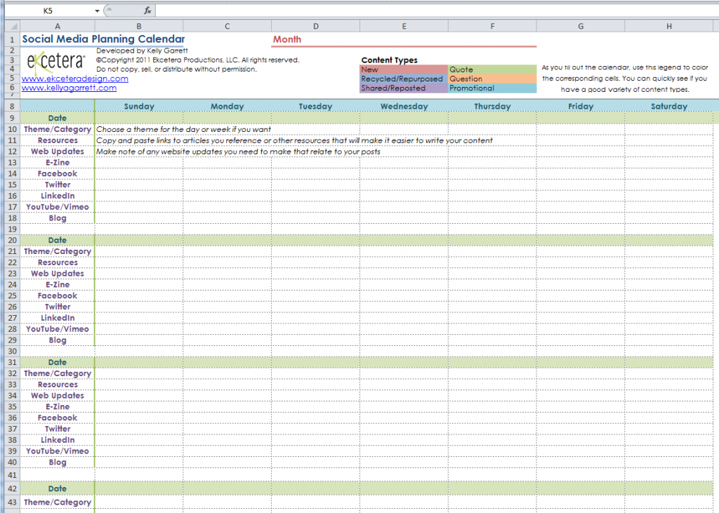 Social Media Calendar Template  Social Media Calendar Template