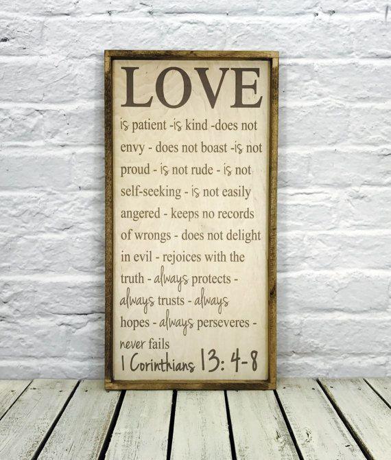 Faith hope love Scripture Art Sign Love is patient love is
