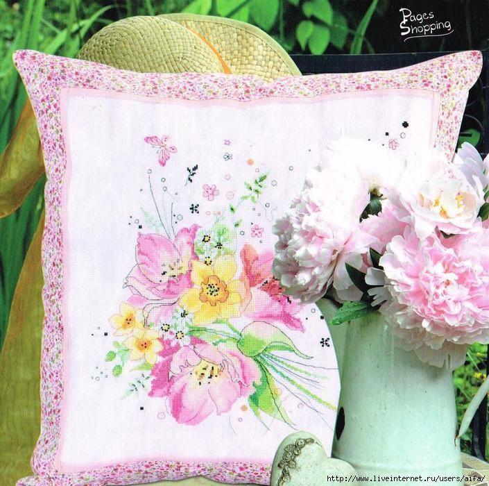 Cross stitch - flowers: tulips and daffodils (free pattern)