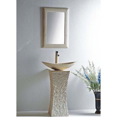 Mtd Vanities Milan 24 Quot Vessel Bowl Pedestal Sink With Mirror
