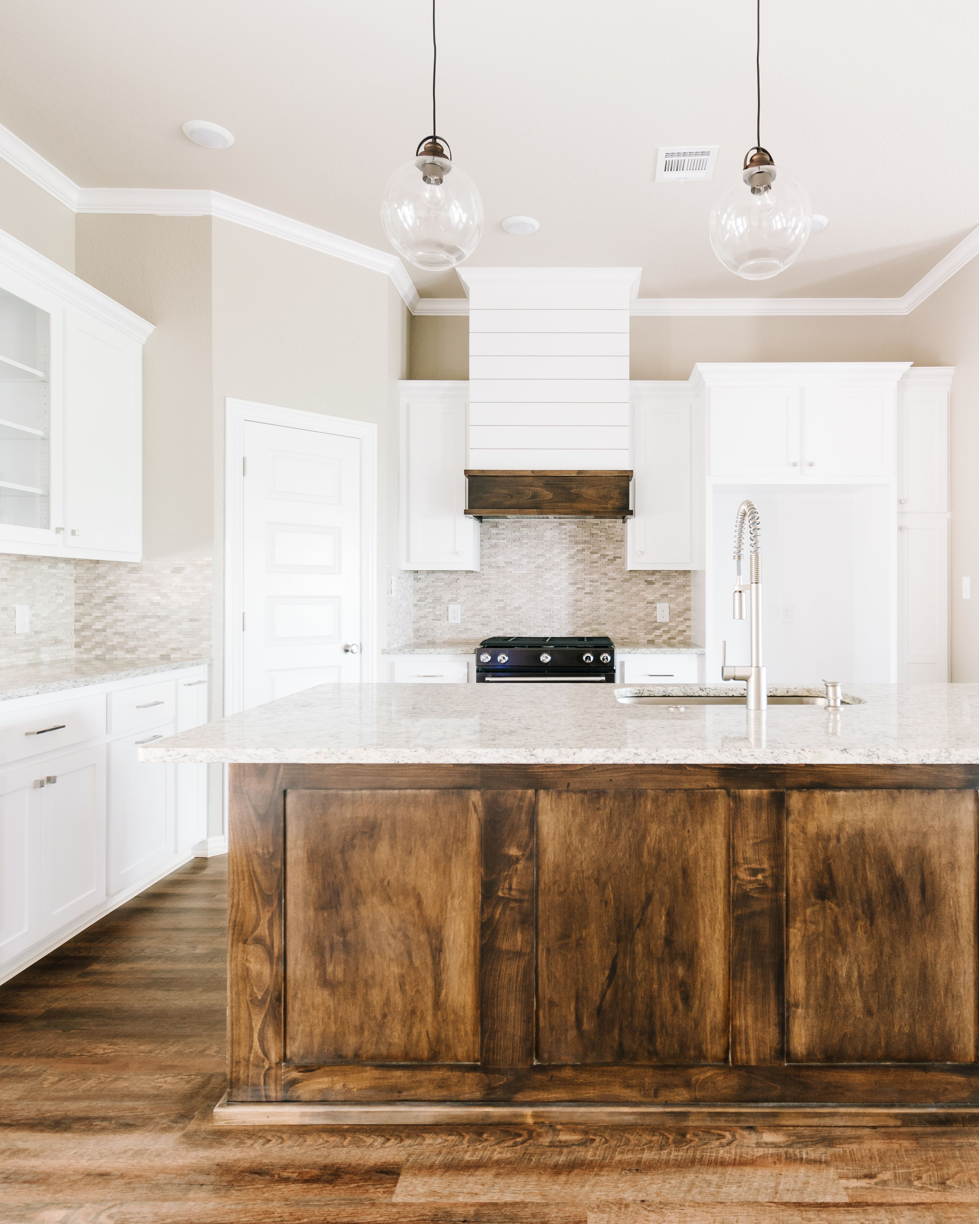 Modern White Rustic Kitchen With Dark Stained Island And Custom Shiplap Hood In 2020 Rustic Hardwood Floors Shiplap Kitchen Rustic Hardwood