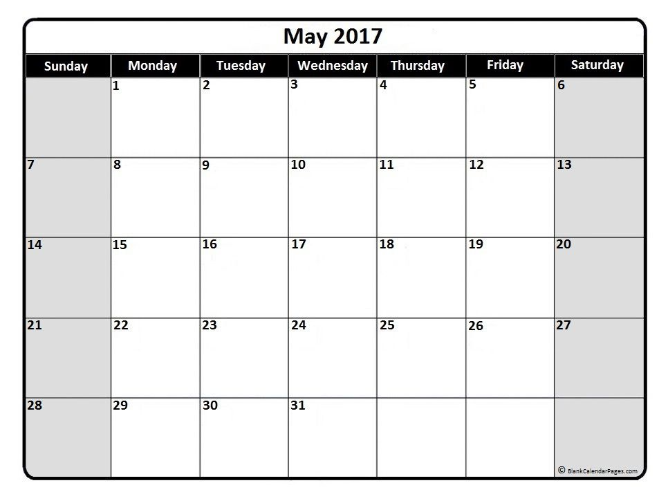 May 2017 Monthly Calendar Printable | 2017 Printable Calendars