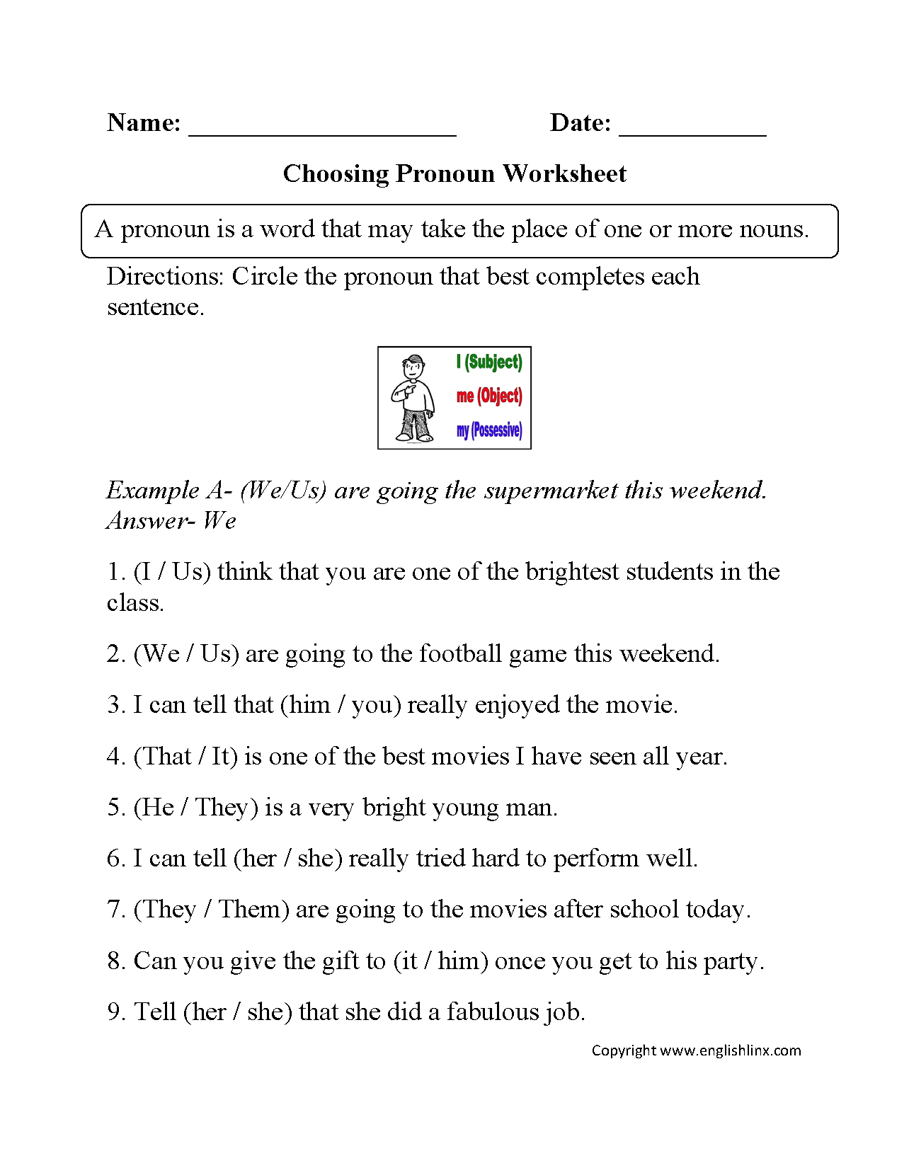 Choosing Pronoun Worksheet