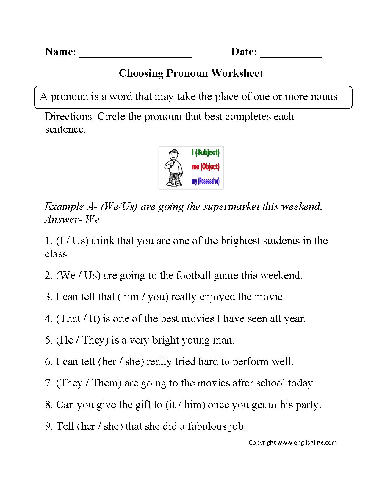 Pronoun Worksheets Parts of speech Pinterest