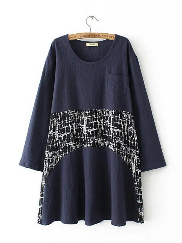 Casual Women Printed Patchwork Long Sleeve O-Neck Dress