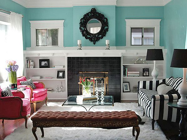 Pareti A Strisce Bianco E Nero : Turquoise black white and hot pink living room remodel ideas