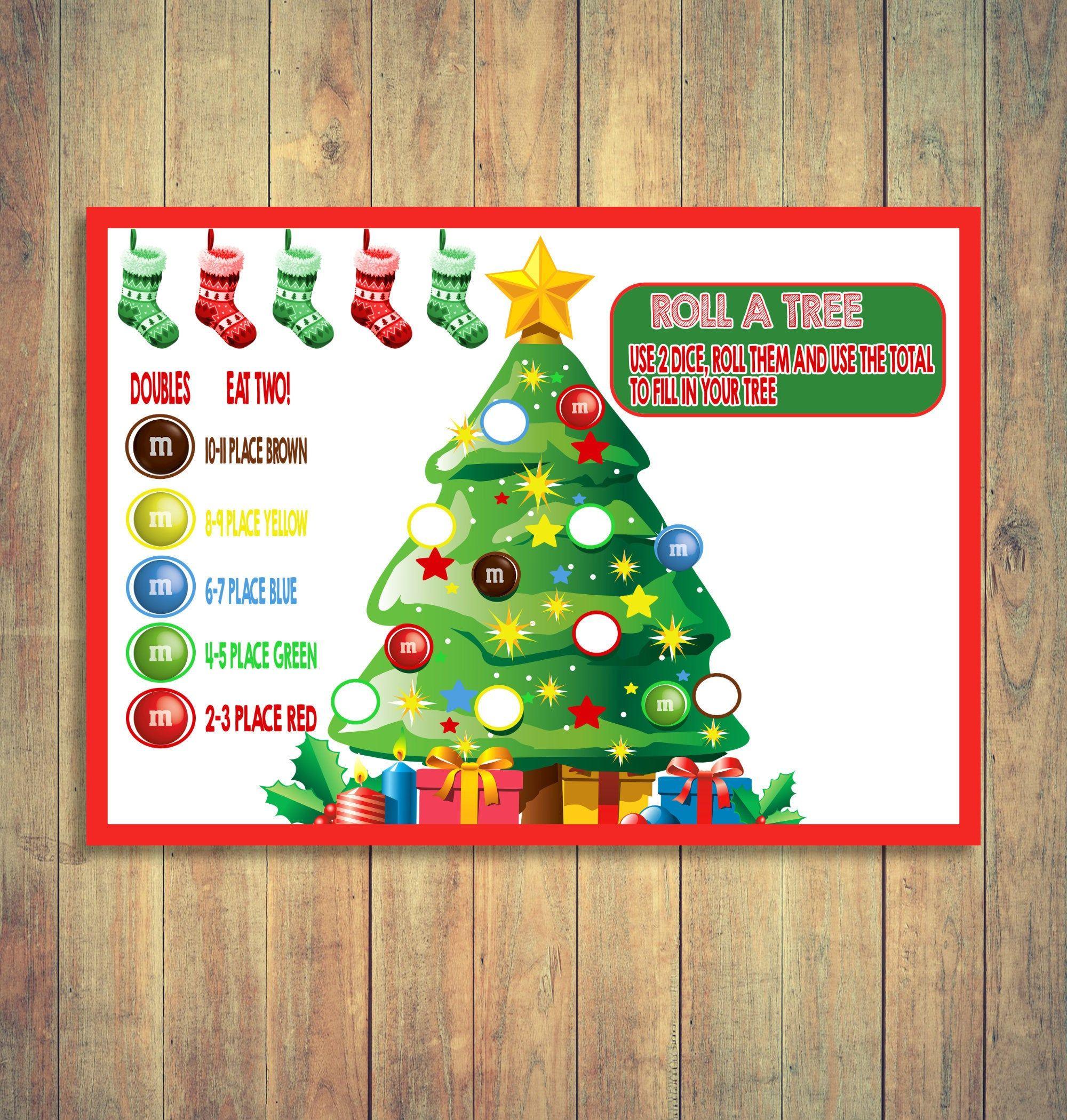 Christmas Kids Table Game Roll A Christmas Tree Game Kids Etsy Christmas Games For Kids Christmas Tree Game Holiday Games
