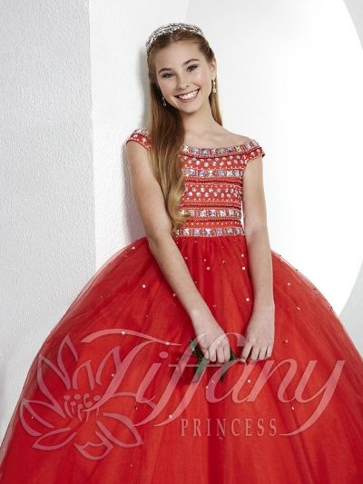 a94fae079800 Size 10 Red Tiffany Princess 13436 Girls Off Shoulder Pageant Gown- Style  13436 from Tiffany Princess is a girl s pageant dress with off the shoulder  ...