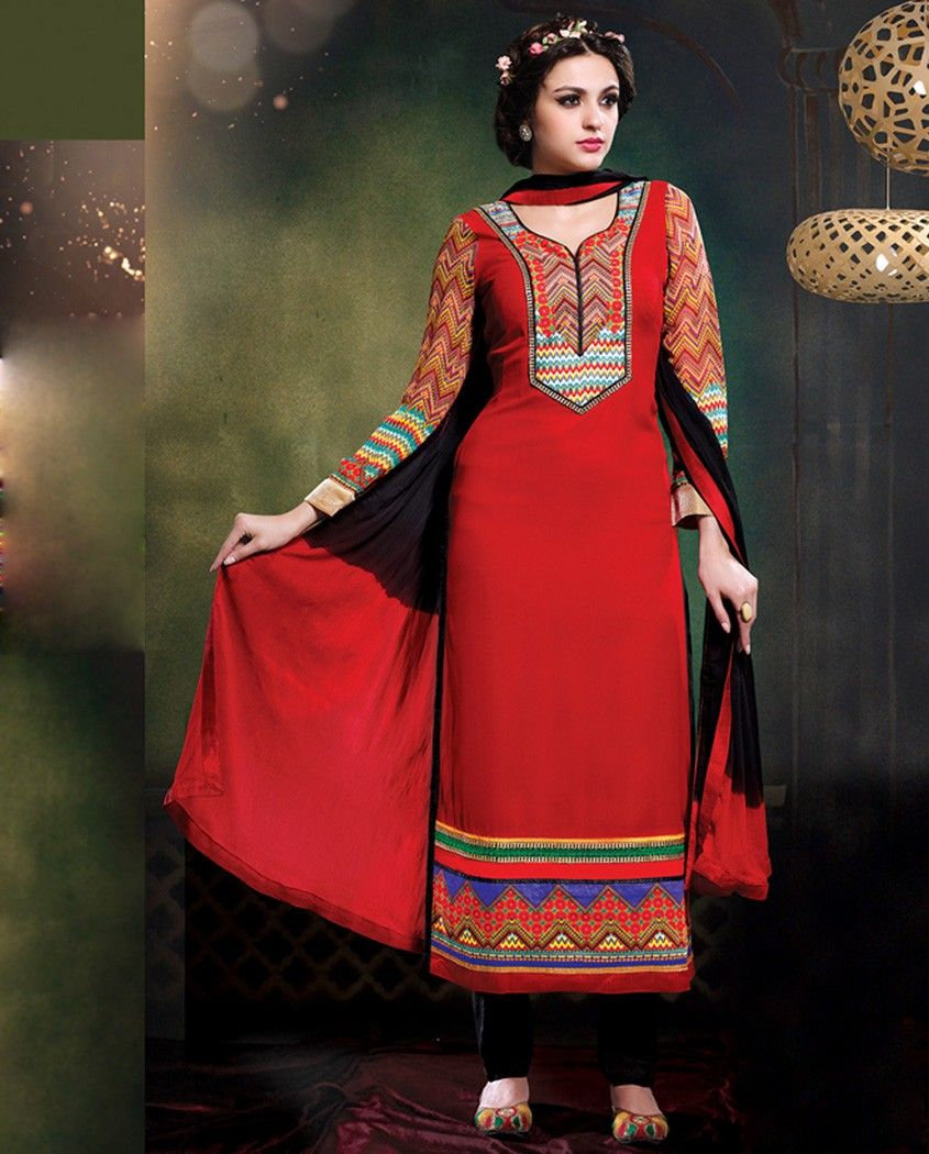 Red and black embellished long suit   1. Red and black georgette long suit2. Comes with matching bottom and dupatta3.Can be stitched upto size 44 inches
