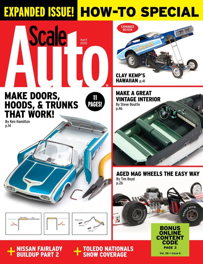 Scale Auto magazine will inspire and teach you to build better models of your favorite muscle cars, stock cars, street roads and more! Every issue is packed with full-color photos of readers' models, product news, kit reviews, how-to tips, and instruction to help you enjoy this exciting hobby.