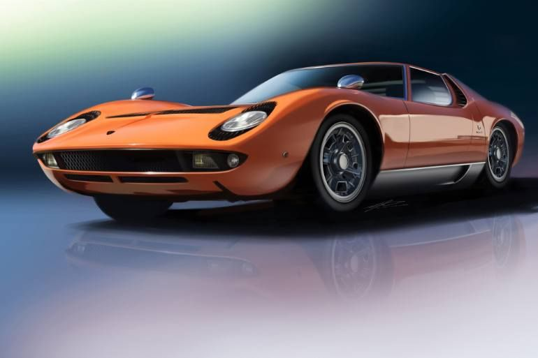 """Prints available from $85. Often referred to as the first """"supercar"""", the Lambor…"""